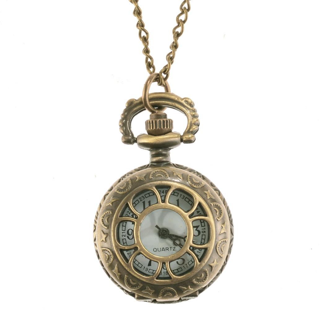 FANALA 2017 Steampunk Pocket Watch 6 Types necklace Chain Clock Quartz Watch Vintage Style Men Women Gift