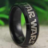Free Shipping USA UK CANADA RUSSIA Brazil Hot Selling 8MM Black BeveledStar Wars Rebel Alliance/Jedi Men's Tungsten Wedding Ring