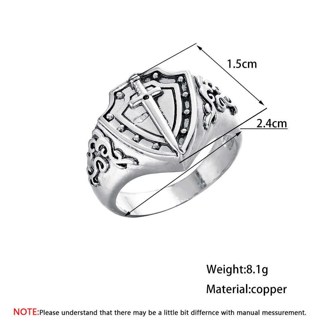 Kinitial Retro เกราะดาบแหวนอัศวิน Templar Crusade ข้ามแหวนยุคกลาง Signet แหวนผู้ชายเครื่องประดับ Amulet