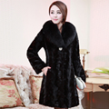 Besty high quality women real mink fur wool coat medium-long length customized genuine leather coats winter warm  slim vest