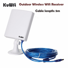 KuWfi 150Mbps High Gain 14dBi Antenna 5m Cable Wireless USB Adapter High Power Outdoor Waterproof Long Range Wifi Receiver