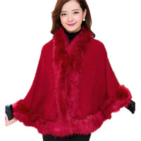 New Women S Thick Winter Warm Snow Knitted Faux Fur Coat Cloak Cover Outwear 10 Colors