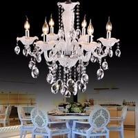 Cafe white mini chandelier Luxury bedroom 6 lights kids lighting Fixture crystal chandeliers children room light chrome candles