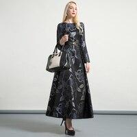 DF Luxury Vintage Jacquard O Neck Autumn Long Dress Evening Formal Dress Muslim Women Party Night Maxi Long Dresses 6442