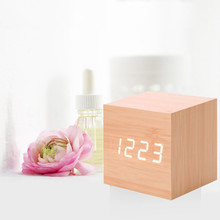 Digital Wooden LED Alarm Clock Backlight Voice Control Wood Retro Glow Clock Desktop Table Luminous Alarm Clocks hot sales#22