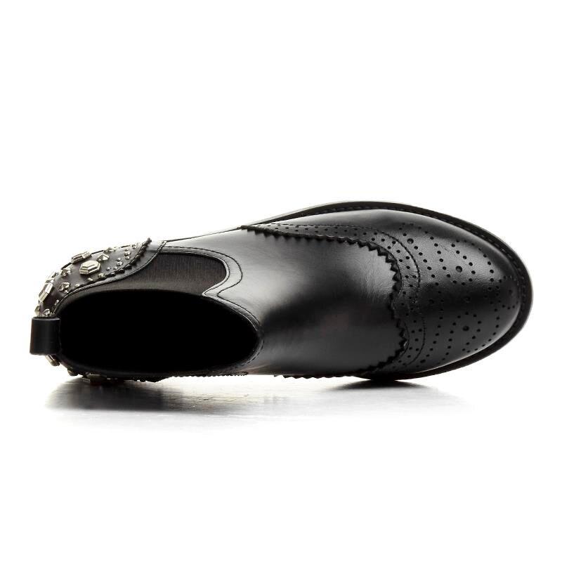 Zapatos Remaches Redonda Gruesa Banda Tobillo Tacones Mujer Wearproof La Cuero Punta Botas Masgulahe Manera Elástico De Bajos Black Sólidos Para Genuino Del dwPqfp