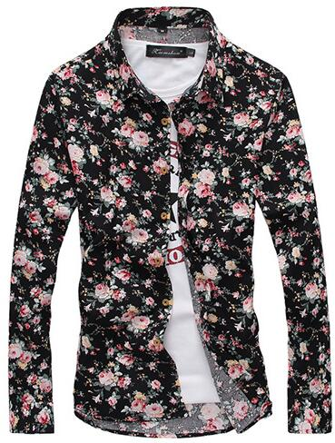 Hot Stylish Men Casual Shirt Slim Fit Floral Shirt Long Sleeve Three-color Flowers Shirt Summer Casual Shirts CS11