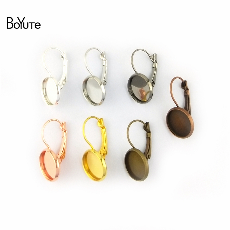 BoYuTe 50Pcs 7 Colors Round 8-10-12-14-16-18-20-25MM Cabochon Base Blank Tray Clip Earrings DIY Jewelry Findings Components (4)