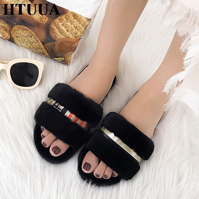 HTUUA 2018 New Fluffy Faux Fur Slippers Women Winter Cozy Shoes Plush Warm Flats Fur Slides Soft Comfort Home Slippers SX1378