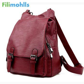 Las mujeres Bolsos De Mujer de cuero de viaje bolsa de hombro mochila de  alta calidad de las mujeres de la Universidad viento la escuela mochila  bolsa chica ... 6e7d74bbc4f3