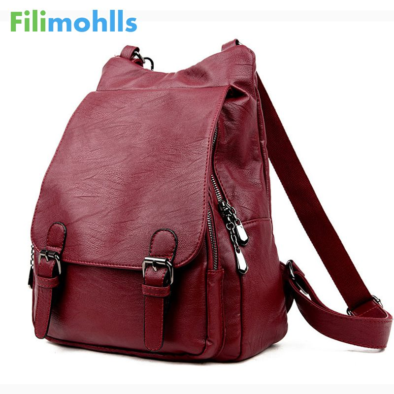 Women Backpacks Leather Female Travel Shoulder Bag Backpack High Quality Women Bag College Wind School Bag Backpack Girl S1493