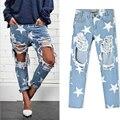 2016 Mujeres de la Impresión de Cinco puntas Estrella Vintage novio Agujeros Rasgados Pantalones de Mezclilla Azul Pantalones Blancos Femeninos Pantalones de Mezclilla Pantalones de la Señora QL2236