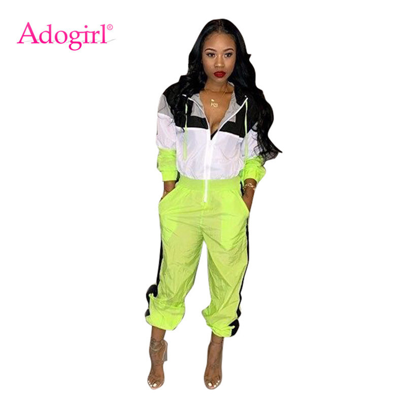 Adogirl Color Patchwork Hooded Jumpsuit Women Casual Loose Romper Zipper Long Sleeve Pockets Overall Female Tracksuit Sportswear