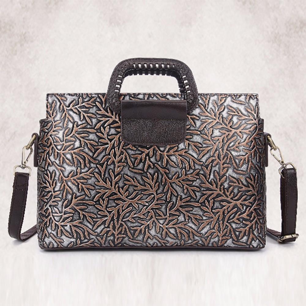 ФОТО New Fashion Designer Women Genuine Leather Messenger Bags Ladies Retro Embossed Shoulder Bag Luxury Brand Cowhide Tote Handbag