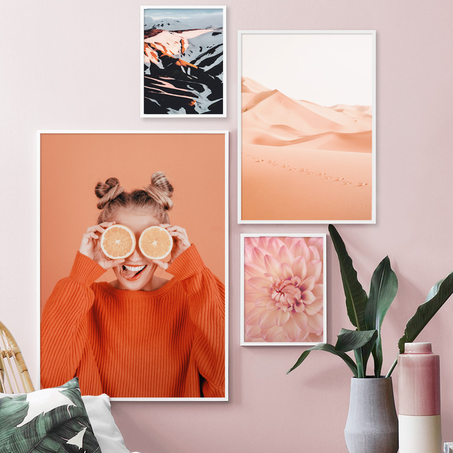 Girl Pink Flower Desert Mountain Wall Art Canvas Painting Nordic Posters And Prints Wall Pictures For Living Room Home Decor in Painting Calligraphy from Home Garden
