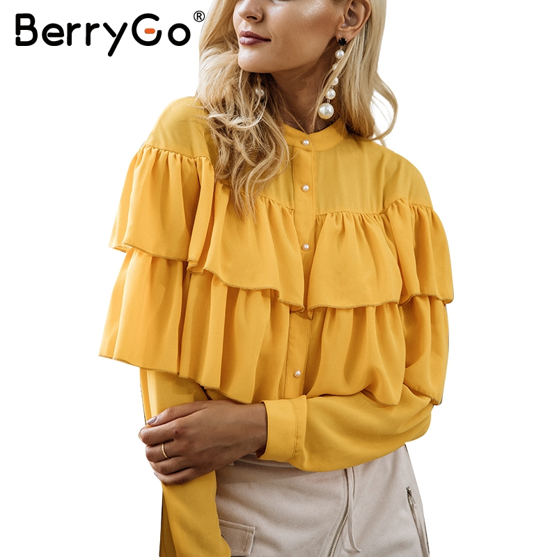 BerryGo Casual ruffles white   blouse     shirt   women tops 2017 Long sleeve cool   blouse   Elegant blusas chemise femme blusas new