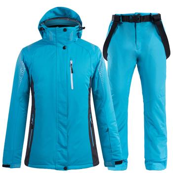 Jazda na nartach kombinezon narciarski kurtki i spodnie mężczyźni i kobiety bardzo ciepłe wiatroszczelne wodoodporne zestawy snowboardowe śniegu na świeżym powietrzu na świeżym powietrzu ubrania tanie i dobre opinie Skiing Poliester NYLON spandex Anty-pilling Anti-shrink Oddychająca Wodoodporna Wiatroszczelna Z kapturem L830-1588 ARCTIC QUEEN