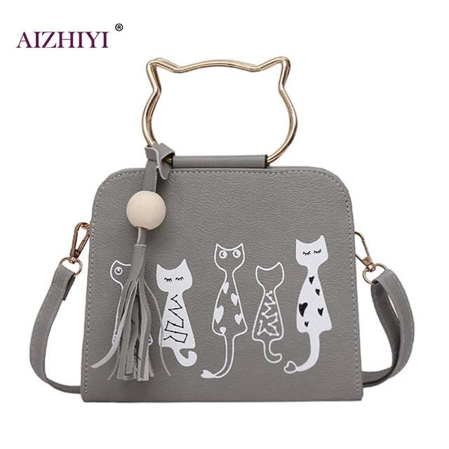 dc43257bca1f Women Handbags Cute Cartoon Cats Printed Small Crossbody Bags for Girls 2018  New Fashion Women Scrub