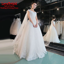 Luxury Ball Gown Beaded Lace Wedding Dresses 2016 with Cathedral Train Long Bridal Gowns vestido de noiva com manga curta XW162