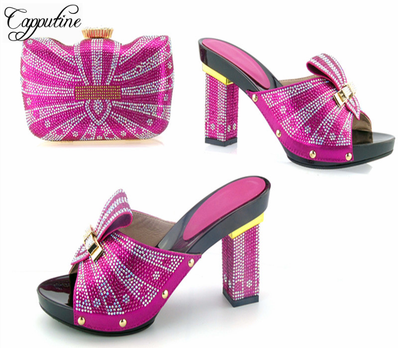 Capputine New Design Women Shoes With Matching Bag For Wedding Party Africa Style Metal Decoration High Heels Shoes And Bag Set hot artist new design summer style shoes and bag set african women shoes and matching bag set for wedding size 38 42 me7709