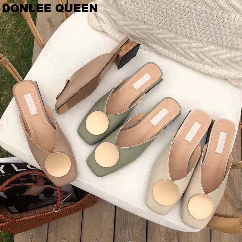 2020 Brand Designer Women Slippers Slip On Mules Flat Heel Casual Shoes British Buckle Slides Wooden Block Heels Summer Footwear(China)