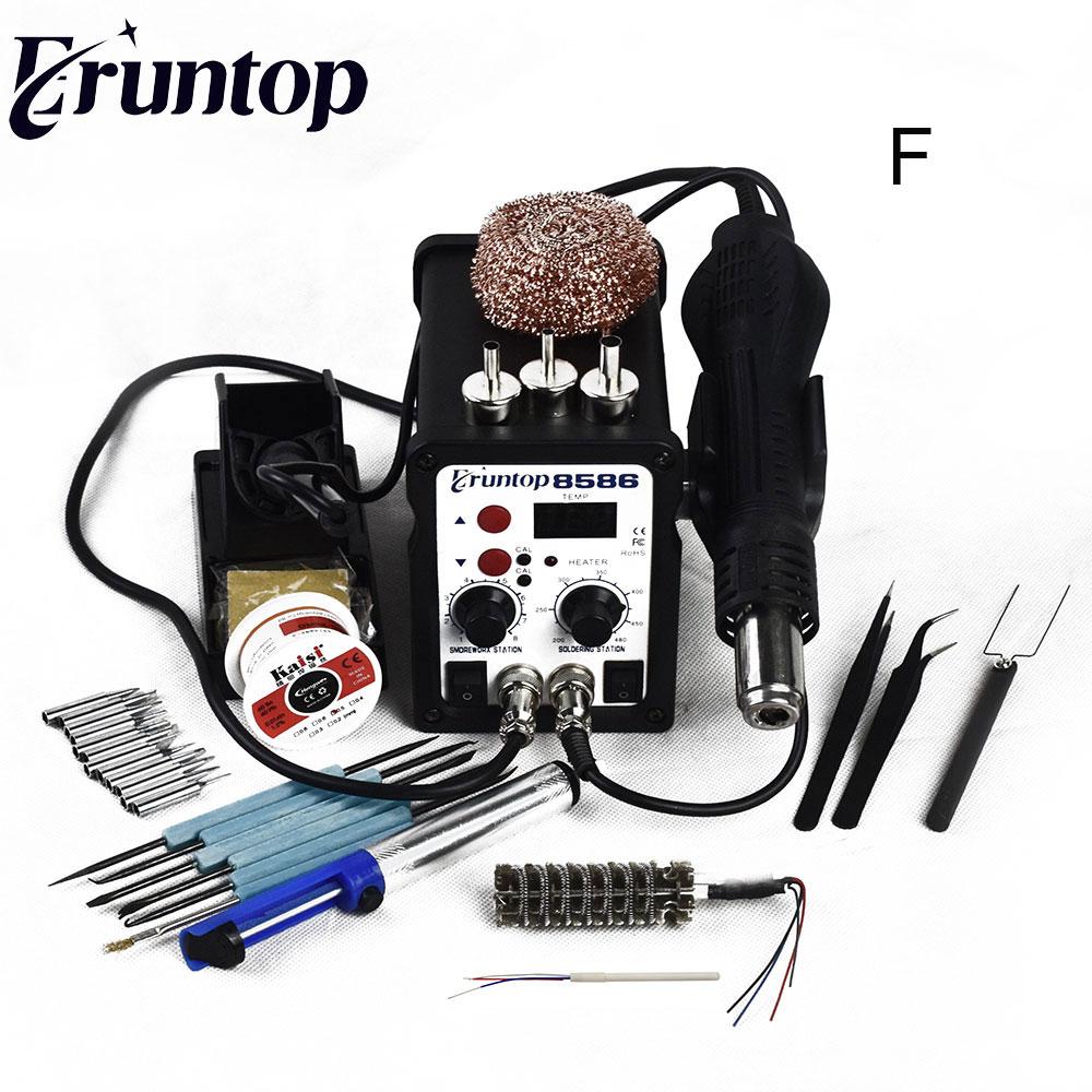 700 W de alta calidad Eruntop 8586 2 in1 Estación de pistola de aire caliente + Hierro de la soldadura