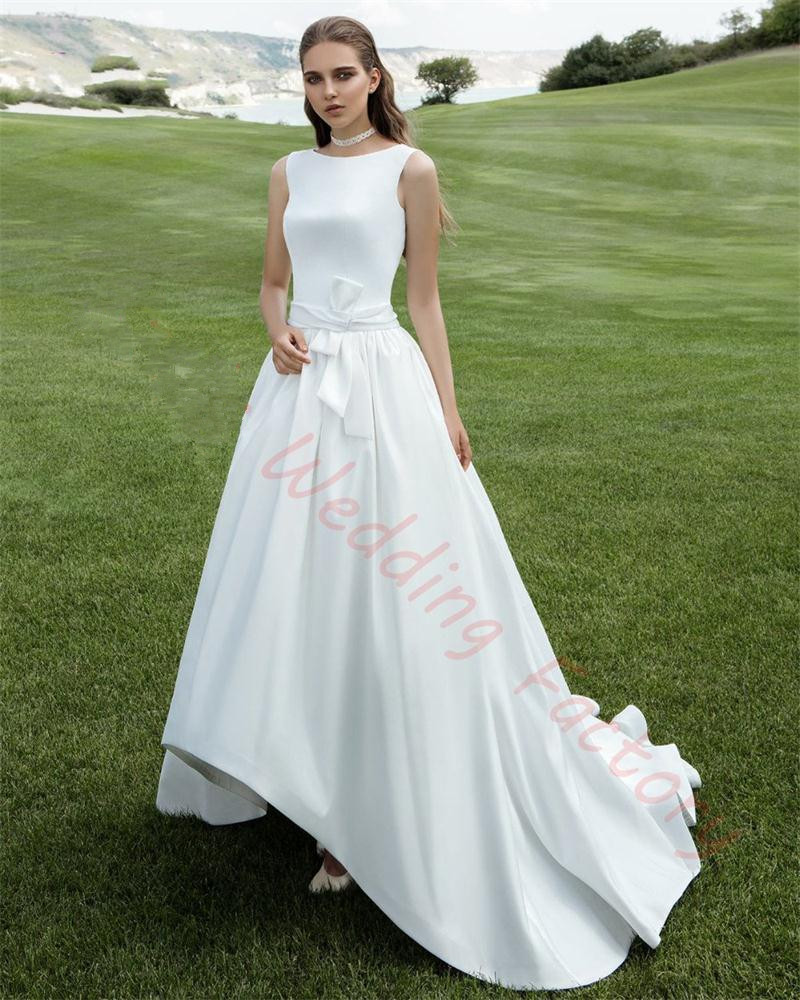 Wedding Gowns With Sashes: Robe De Mariage 2017 High Low Satin Wedding Dress Beading