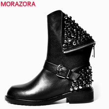 MORAZORA Top quality PU + real leather-based boots rivets sq. heels autumn winter ankle boots horny fur snow boots footwear girl