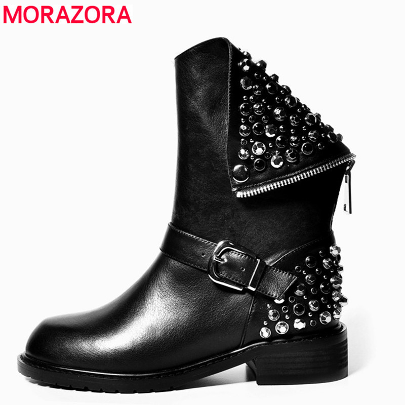 MORAZORA High quality PU + genuine leather boots rivets square heels autumn winter ankle boots sexy fur snow boots shoes woman fedonas top quality winter ankle boots women platform high heels genuine leather shoes woman warm plush snow motorcycle boots