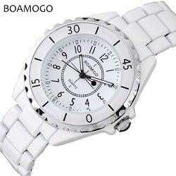 Mulheres relógios de quartzo moda senhoras pulseira branco relógios boamigo marca feminina vestido de pulso relógio feminino relogio feminino