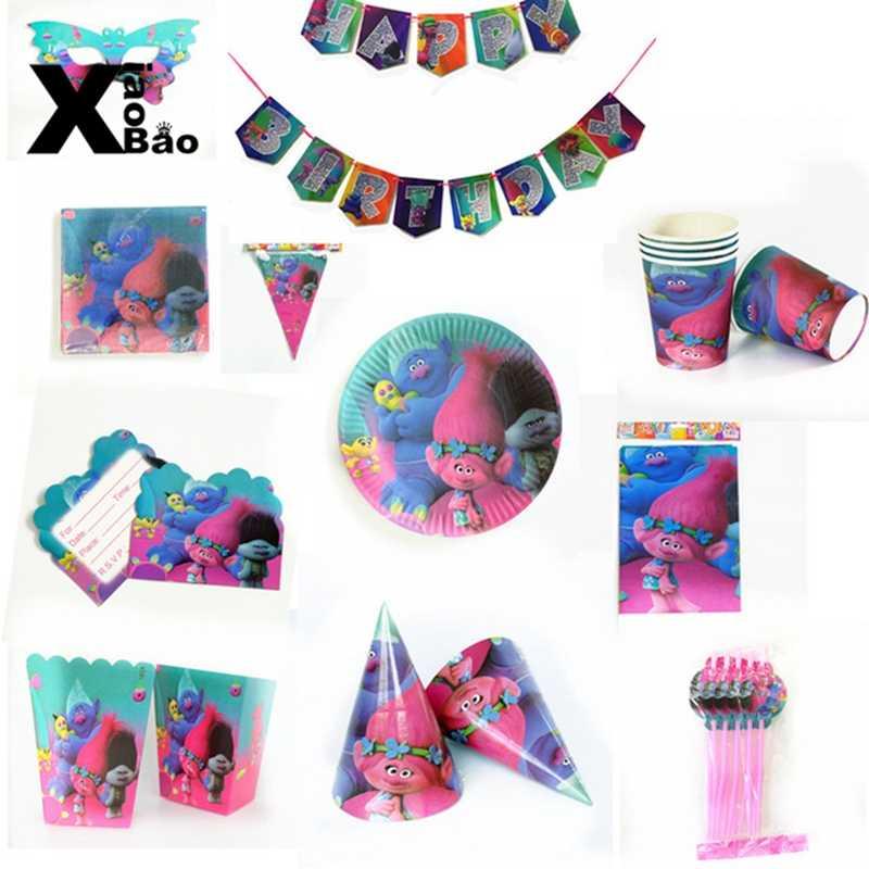 Troll Kertas Tableware Piring Piala Garpu Sendok Taplak Meja Balon Tas Kartu Kotak Souvenir untuk Liburan Pesta Ulang Tahun Hadiah
