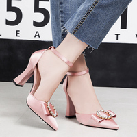 2018 Summer Fashion Woman Thick High Heels Sandals Female Fetish Pointy Satin Block Heels Lady Sexy Crystal Silk Pink Gray Shoes