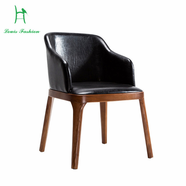 Woodmensal Hotel Club Cafe Chair Dining Chair Backrest Leisure Nordic  Leather Chair Simple Cloth Chair