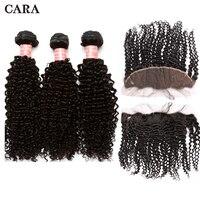 3B 3C странный вьющиеся волосы расслоения с Фронтальная Закрытие бразильского Виргинские волос ткань 3 Связки с кружевом фронтальные волос