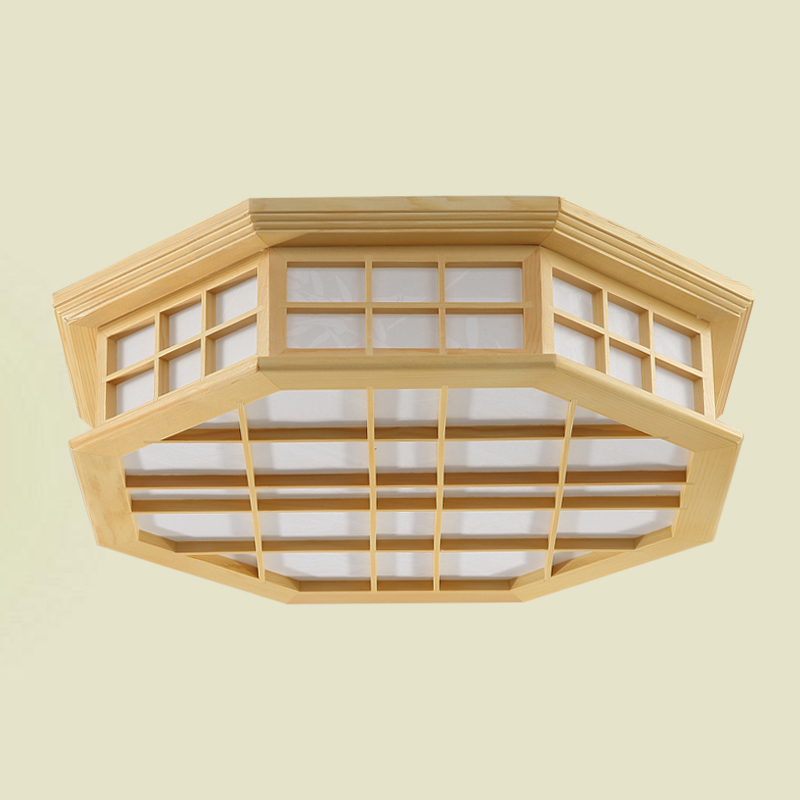 Japanese Style Indoor Lighting Ceiling Lights Washitsu Tatami Decor Shoji Lamp Wood and Paper Restaurant Living Room Hallway japanese ceiling lights washitsu tatami decor flush mount ceiling lamp e27 wood living room hallway indoor lantern lamp lighting