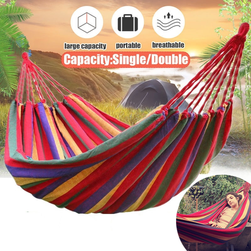Ultralight Outdoors Cotton Fabric Canvas Travel Hammocks Garden Park 450lbs Camping Travel Hammock Portable Beach Swing Bed