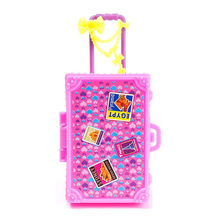 Kids Toy Plastic 3D Cute Travel Suitcase Luggage Case Trunk For Barbie Doll House Gift Toys Dollhouse Furniture(China)