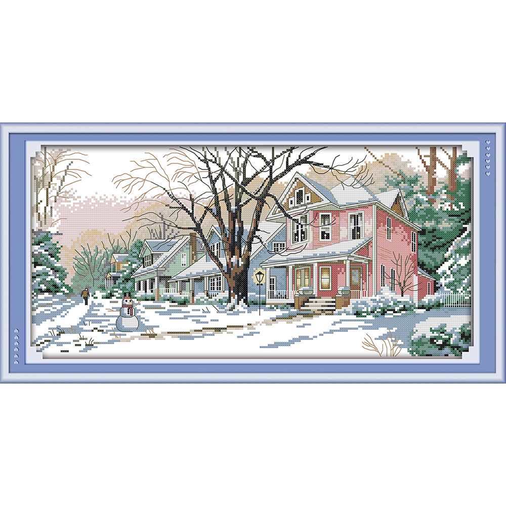 Everlasting love Winter street Chinese cross stitch kits Ecological cotton stamped printed 11C DIY new year decorations for home