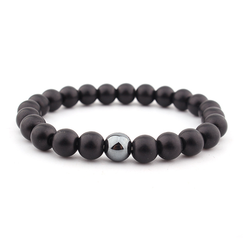 Beaded Yoga Energy Black Men For Him Bracelet Boyfriend Jewelry Gift Onyx Matte