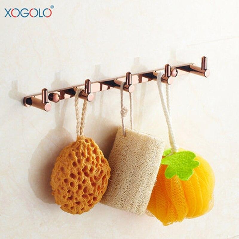 Xogolo розовое золото Ванная комната вешалка 5 Крючки Медь стены Полотенца ряд крюк Европейский Стиль крепкий Аксессуары для ванной комнаты