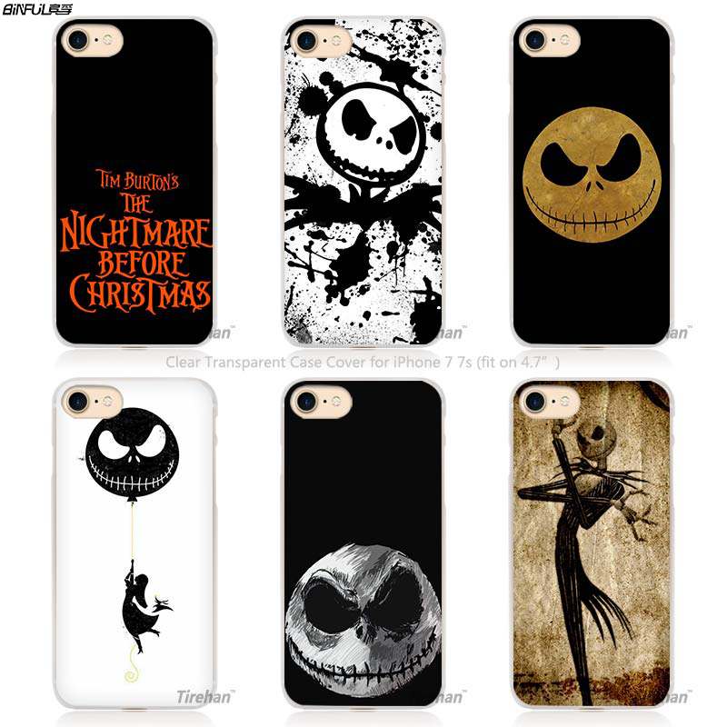 BiNFUL Jack Skellington The Nightmare Before Christmas Hard Transparent Phone Case Cover Coque for Apple iPhone 4 4s 5 5s SE 5