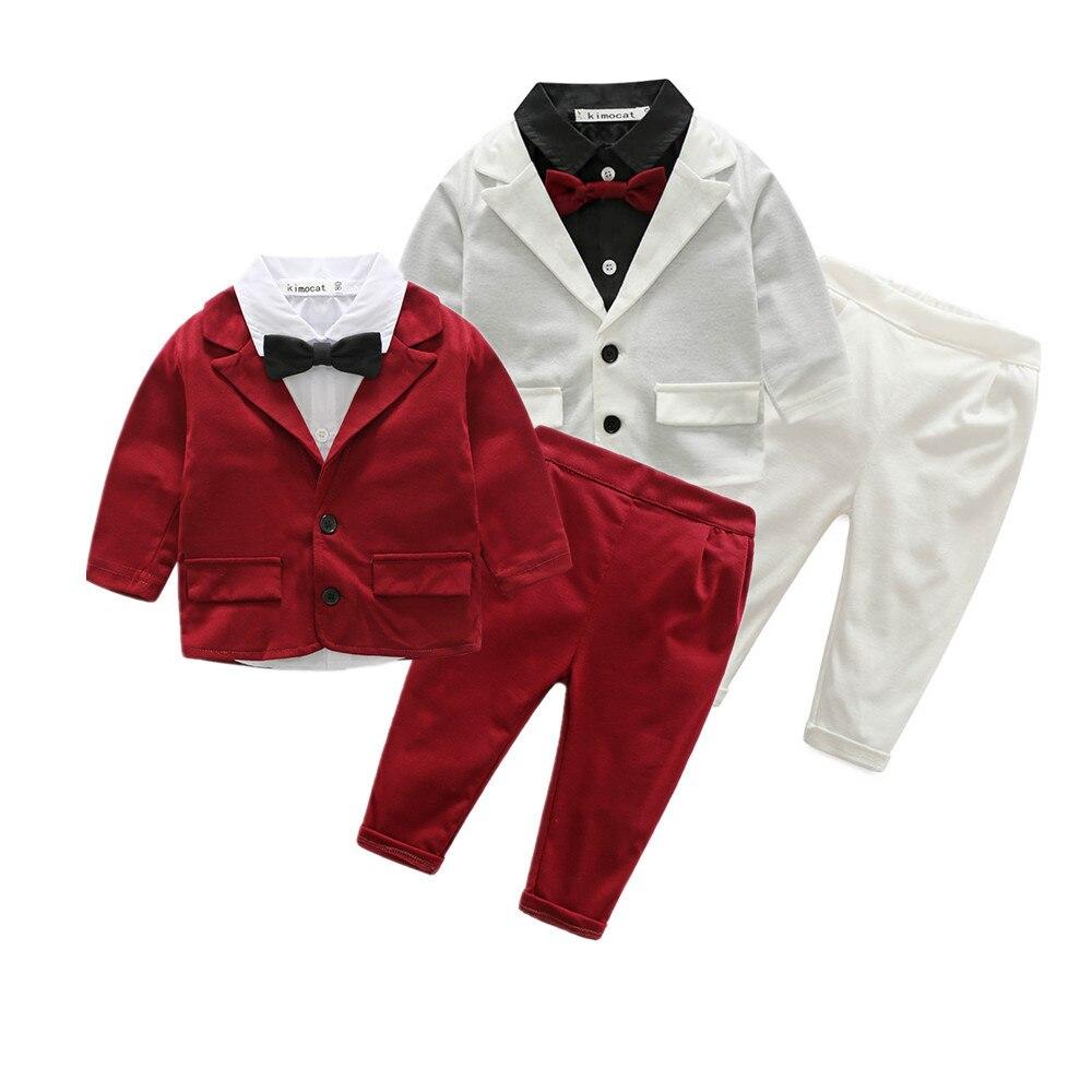 Primavera outono crianças manga longa jaqueta camisas calças 3 pcs set moda infantil vestido de festa roupa das crianças outwear terno cavalheiro 17A801
