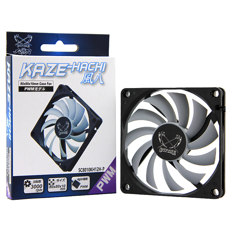 Gentle Typhoon Super Thin 8cm Fan 3000RPM  4PIN PWM Speed Control Computer Case Fan 80x80x10mm SC8010KH12H-P