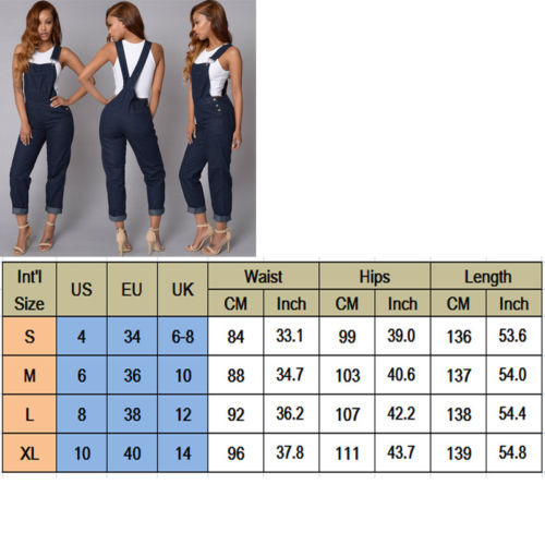 NEW Women Ladies Jeans Overalls Casual Ladies Demin Pants Playsuit Bodycon Party Jumpsuit Romper Trousers