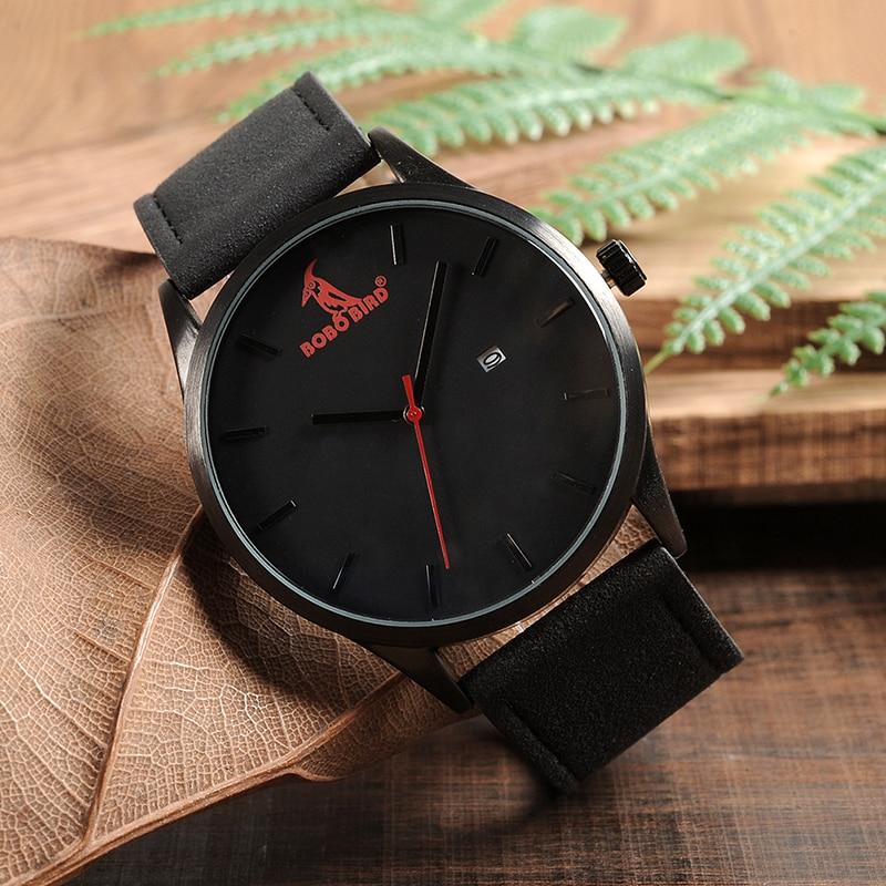 Image 3 - BOBOBIRD Top Luxury Brand Quartz Watches Business Military Men Watches Leather relogio masculino Leather Strap Clock-in Quartz Watches from Watches