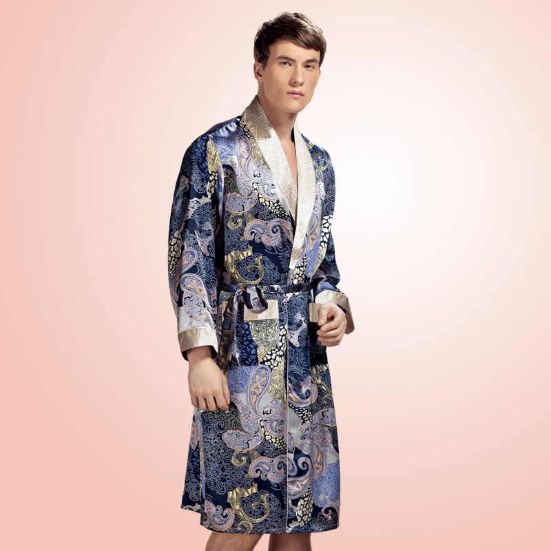 4e4ffcf18a4adf4 Новое поступление 100% шелк тутового шелкопряда мужской весенний длинный  рукав халат модный Досуг халат кимоно