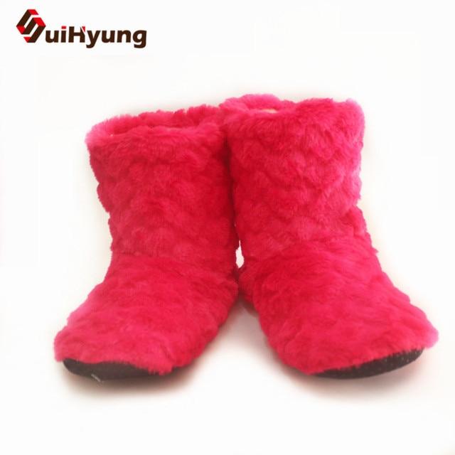 Suihyung 2018 جديد الشتاء النساء قطيع الأحذية أحذية قطنية إيفا الشقق الإناث نوم عارضة الانزلاق على الصلبة جولة منتصف العجل بوتاس