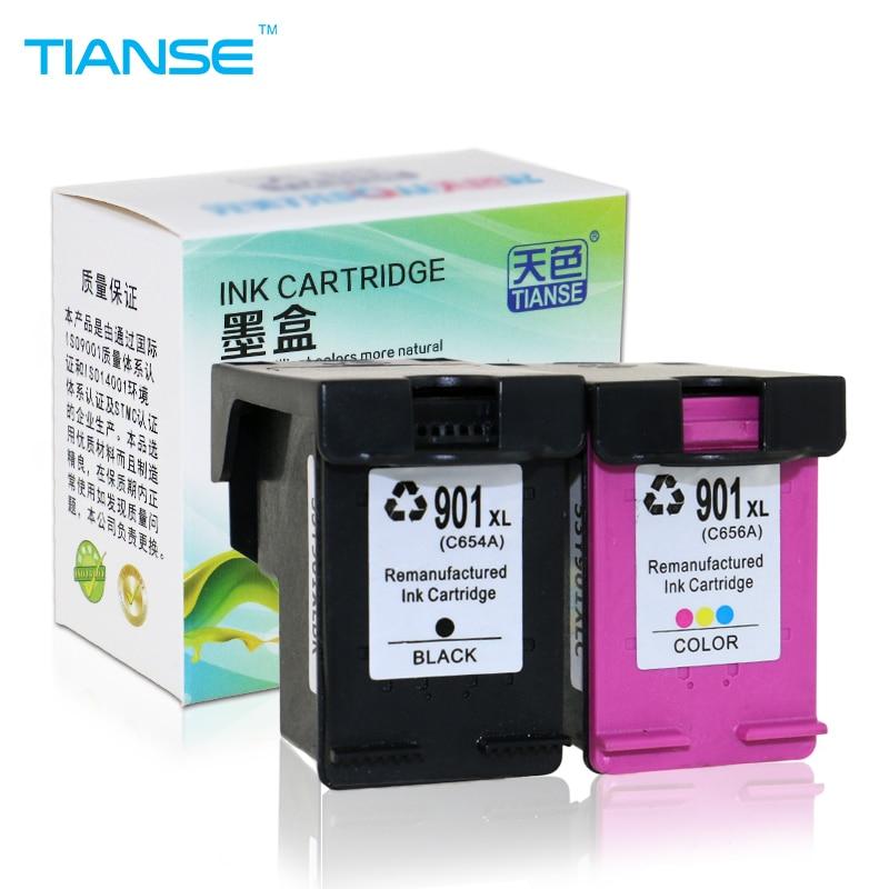 TIANSE 2pk 901XL pour HP 901 HP901 XL Cartouche D'encre de remplacement pour HP Officejet 4500 J4500 J4540 J4550 J4580 J4640 J4680 imprimante