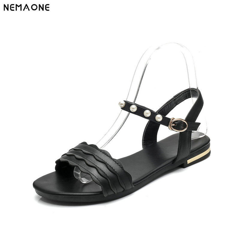 NEMAONE New Summer Women Genuine Leather Flat Sandals Female Casual Shoes Woman Flats Sandals big size 12 13 14 15