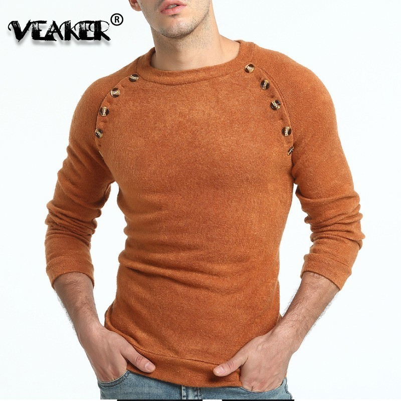 Knitted Sweater Pullovers Jumpers Slim-Fit O-Neck Warm Male Autumn Men's Winter 3XL Button